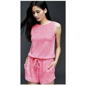 Gap neon pink softspun sleeveless knit romper M